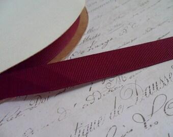 5/8 Inch Wide Burgundy Grosgrain Ribbon Trim