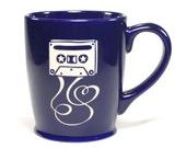 Cassette Tape Mug - Navy Blue - dishwasher safe mixtape coffee cup