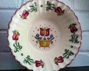 Vintage Old Dutch Limoges USA Cream Green Blue Burgundy epsteam Tulips 1940s Sale