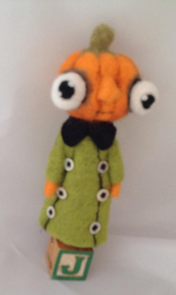 Jackie lantern ooak needle felted art doll