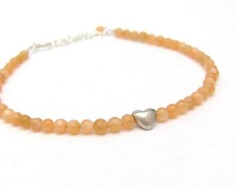 Silver Heart Bracelet, Heart Bracelet, Gemstone Bracelet, Moonstone Bracelet, Peach Bracelet, Friendship Bracelet, Sterling Silver Jewelry