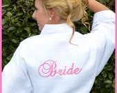 "READY to SHIP Wedding Day ""Bride"" Robe - Back Embroidered, In Stock, RUSH Shipping, White Bride robe - Last Minute Wedding Gift Ideas"