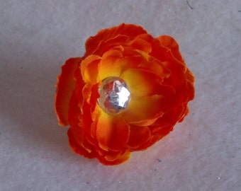 Carlykins Boutique Baby Girl Hair Accessories Mini Orange Peony Flower Infant, Toddler, Teen