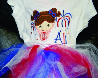 Patriotic July 4th Fourth Firework Tshirt Bodysuit any size  embroidered monogrammed