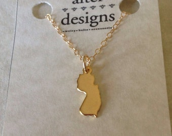 New Jersey Necklace - Home State Necklace - Long Distance Love - Leaving for College - Going Away Gift - Best Friend - Friendship Necklace