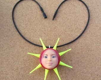 SOLEIL - upcycled Barbie bottle cap necklace