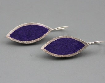 Super sexy Purple Marquis Sterling SIlver Earrings