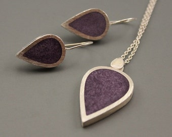 Grape Drops Sterling Silver and Resin Pendant earrings set