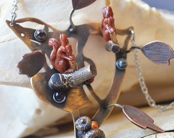 Acorn Feast Squirrel Necklace Made With Cast Sticks And Acorns