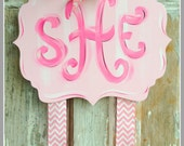 Hair Bow Holder, Hand-Painted Bow Holder, Monogram Bow Holder, Handmade, Clip Holder, Bow Organizer, Bow Holder, Personalized Bow Holder