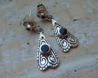 FREE SHIPPING Vintage Silvertone Earrings with Black Enamel Accents