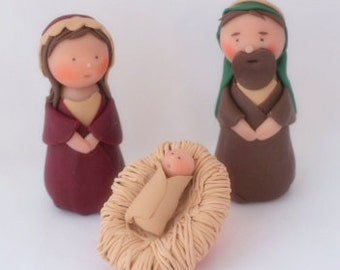 Hand Sculpted Nativity, Manger scene, One of a kind, ornament Christmas decor