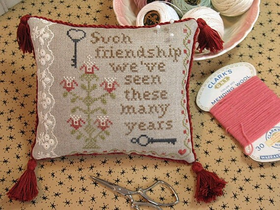 Such Friendship Cross Stitch Chart Piloow cushion pattern x stitch primitive decor vintage decor vintage embroidery decor