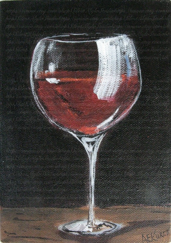 Red Wine Glass Original Painting 5 X 7 Acrylic