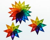 3 Handfolded Kite Paper Rainbow Stars - one 16 pointed Star and two 8 ponted window stars 1A