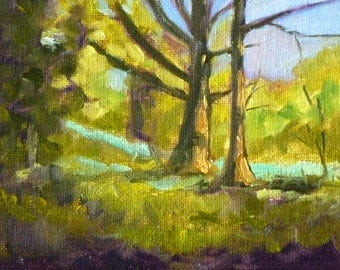Small Landscape Oil Painting, Original on Canvas, 4x5 Trees, Forest, Field, Green, Blue, Spring, Fall, Tiny Format, Miniature Wall Decor