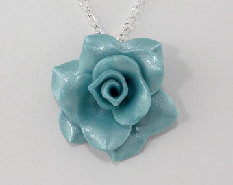 Light Turquoise Blue Rose Pendant Necklace - Rose Necklace - Wedding, Bridesmaid Jewelry - Polymer Clay Rose Pendant #299 Ready to Ship
