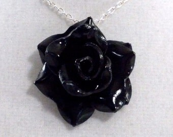 Shiny Black Rose Pendant - Simple Rose Necklace - Shiny Black Rose Necklace  - Wedding Jewelry - Polymer Clay Rose - Ready to Ship #207