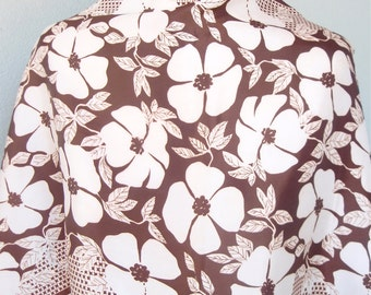 Cocoa Morning Glories - a vintage 1960's Vera Neumann Lucky Ladybug scarf