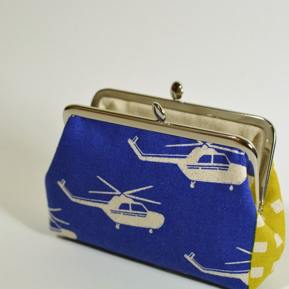 On Sale Small Clutch Women's Clasp Frame Purse Pouch Helicopter Cobalt Blue Modern