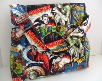 Horror Monster - Pleasures and Pastimes Fabric - Diaper Bag - Messenger Bag - Frankenstein