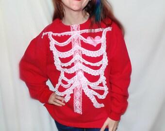 Vintage lace RIB CAGE , SKELETON sweatshirt