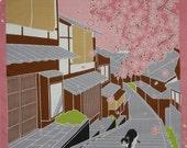 Quilting Fabric Japanese Furoshiki 'Tama Under the Sakura' Cotton Cat Fabric Pink and Gray 50cm w/Free Insured Shipping