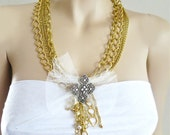Gold Chain Necklace, Chunky Party Necklace, Silver Rhinestone Special Occasion Jewelry Long Statement