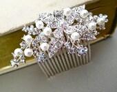 Floral Rhinestone Bridal Hair Comb, Wedding Pearl Crystal Hair Comb, Wedding Jewelry Comb, Bridal Hair Accessories, DAISY