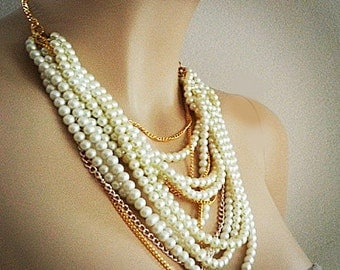 Layered Pearl Necklace, Wedding Pearl Necklace, Bridal Statement Necklace, Chunky Pearl Necklace, Bridal Jewelry Vintage, Pearl Statement