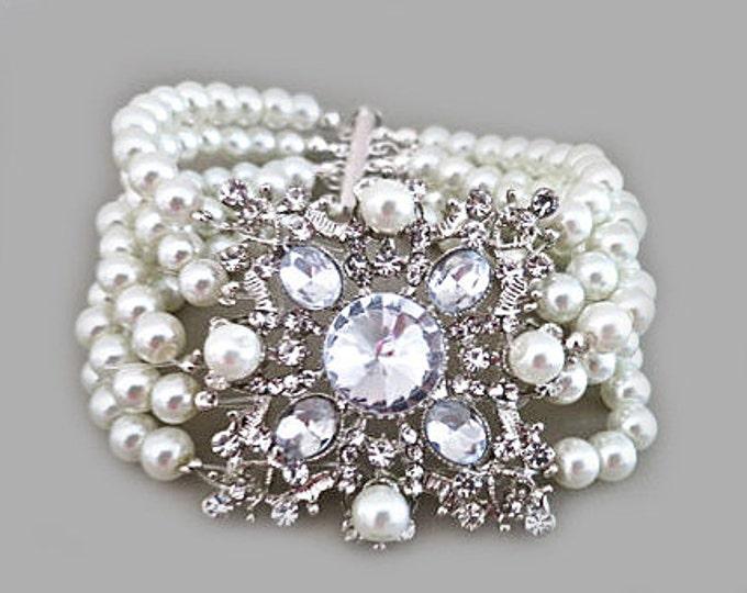 Pearl Cuff Bracelet, Ivory Pearl Bracelet, Gatsby Bridal Rhinestone Bracelet, Wedding Jewellery, Statement Bridal Cuff Bracelet, ELORA