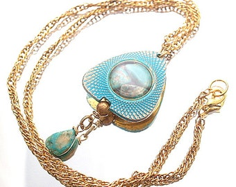 Turquoise Nugget Necklace Glass Locket Summery Pendant Genuine Turquoise