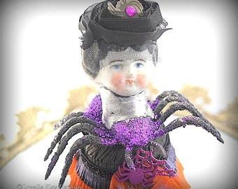 Black Widow Art Doll* Spider Assemblage Halloween Art Doll* Decoration