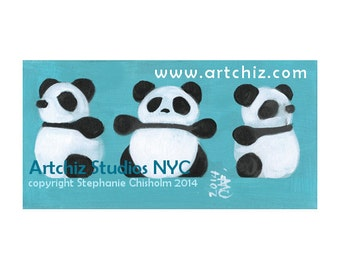 3 Sides of a Panda. 3 Pandas. Saphire Blue.  Awesome Panda Art. Pink. Panda Illustration. Cute Bear. Kids Art. Whimiscal Print.