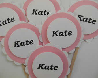 Personalized Cupcake Toppers - Pink and White - Girl Birthday Party Decorations - Girl Baby Shower Decorations - Set of 6