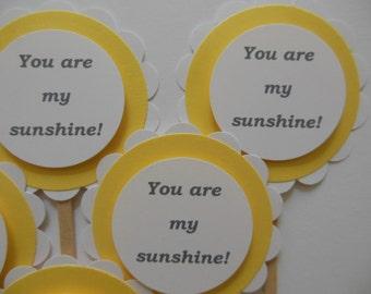 You Are My Sunshine Cupcake Toppers - Yellow and White - Gender Neutral - Birthday Party Decorations - Set of 6