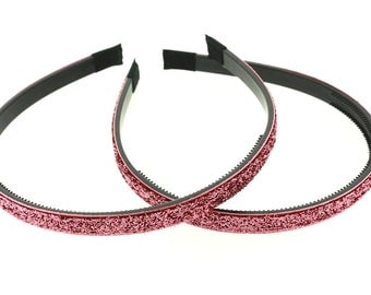"2 pieces - 10mm (3/8"") Glitter Lined Headband with Teeth in RoseWood - Hair Accessories"
