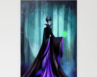 Disney Halloween Card - Maleficent Sleeping Beauty Evil Queen - Disney Halloween Card - Villain Watercolor Halloween Card
