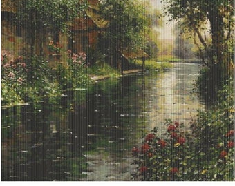 Edge of the Village by Luis Aston Knight, pattern for loom or peyote