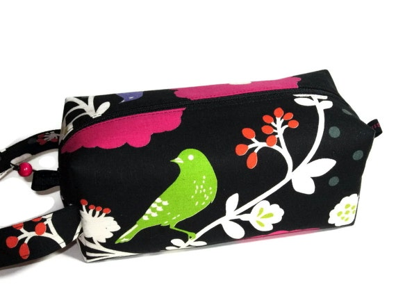 Boxy Bag Knitting Project Zippered Pouch - birds and flowers on black