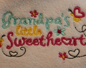 Grandpa's Little Sweetheart Embroidered Bib