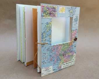Personalized notebook with map of Scotland - Travel Journal - Memory Book