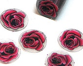 Dark red rose, fimo nail art cane, 2-inch (5cm) long polymer clay cane, DIY, Miniatures, Scrapbooking, Made in USA