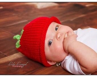 Hat, Tomato hat, knit, Preemie / Small Newborn, Newborn, Infant, Toddler, baby shower gift, photo prop
