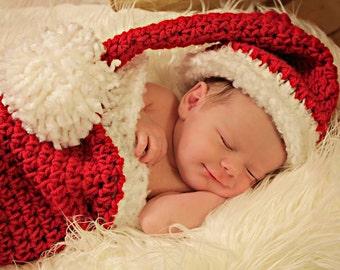 Christmas gifts, Santa Hat & Christmas Stocking Cocoon Baby Gift for Boy or Girl Photo Prop Set
