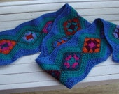 Crocheted Modern Granny Square Ripple Scarf Pattern