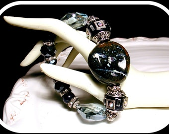 Ceramic and Crystal Mixed Media Statement Bracelet - GYPSY QUEEN