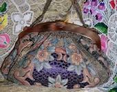 1920s/30s Metallic Lame Floral Art DecoTapestry Fabric With Faux Tortoise Plastic Frame Handbag