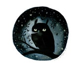 Night Owl - 10 x 10 inch Glow-in-the-Dark Archival Inkjet (Giclée) Print.