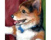 Corgi Art Print of Original Painting, Corgi puppy sitting up, Dog Art